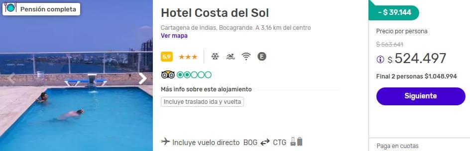 hotel costa del sol 2x1 despegar cartagena