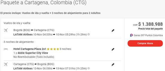 cartagena plaza 2x1 viajes exito noviembre
