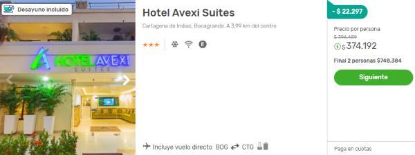 avexi suites cartagena 2x1 viajes falabella