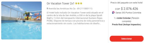 on vacation tower san andres viajes exito 2x1
