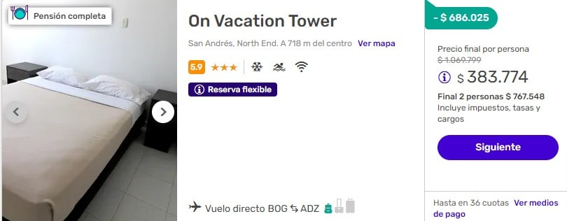 despegar on vacation tower 2x1 san andres