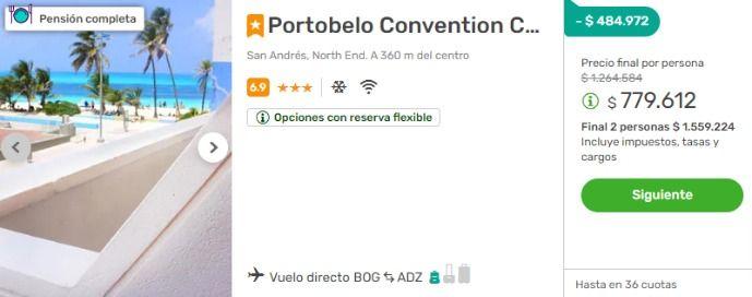 Viajes-Falabella-portobelo san andres 2x1 todo incluido